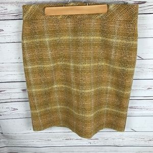 J Crew 100% Wool Mustard Gold Tweed Pencil Skirt